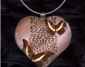 Brown Butterfly Heart Pendant with chain(Bu1.5)