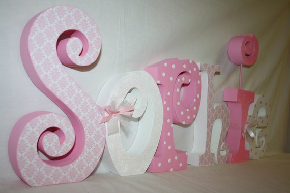 Items Similar To Decorative Girl Nursery Letters Wood