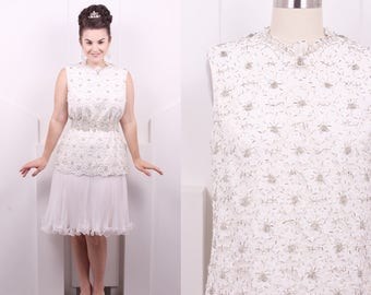 Vintage 1960's Jack Bryan White Beaded Cocktail Dress • 60's Designer Lace and Organza Drop Waist • Size M/L