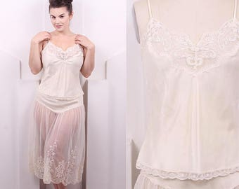 Vintage 1980's Ivory Satin and Lace Slip Set • 80's  Camisole & Half Slip Set • Size M