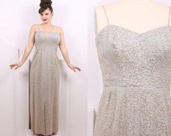 072ff6d9b30 Vintage 1950 s Iridescent Gray Sequins Evening Gown • 50 s Silver Sequin  Floor Length Dress • Size L