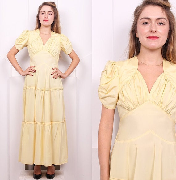 Vintage 1930's Butter Yellow Tiered Dress • 30's P