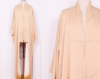 Vintage Butterscotch Bamboo Kimono • Soft Tan Silk Robe
