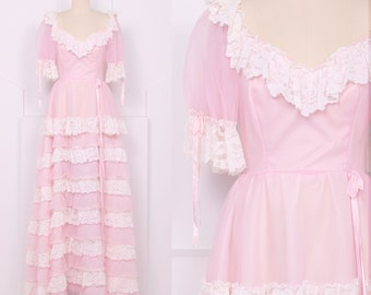 Vintage 1970's Baby Pink Ruffle Gown • 70's Tiered Lace Maxi Dress • Size XS/S