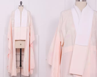 Vintage Bows & Blossoms Drape Sleeve Kimono • Peach and Pink Silk Robe