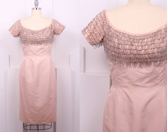 Vintage 1950's Ballet Pink Beaded Silk Sheath • 50's Beaded Fringe Cocktail Dress • Size M/L