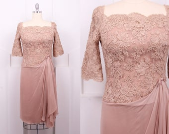 Vintage 1950's Terry Allen Silk & Lace Cocktail Dress • 50's Designer Taupe Chiffon Dress • Size L