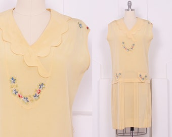 Vintage 1920's Butter Yellow Crepe Day Dress • 20's Embroidered Dropped Waist Dress • Size XL