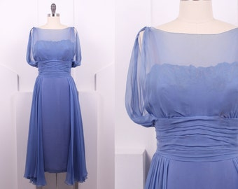 Vintage 1960's Travilla Periwinkle Silk Cocktail Dress • 60's Hollywood Designer Lace and Chiffon Evening Dress • Size S/M
