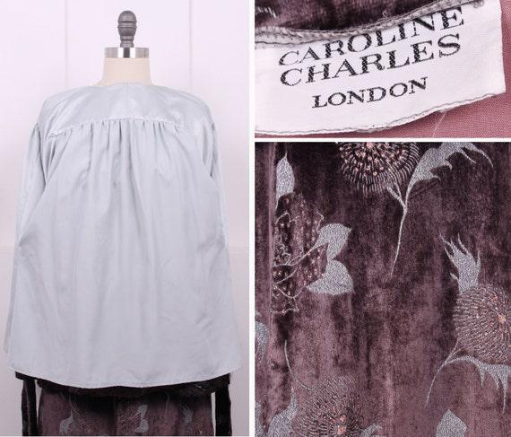US10 Superb Caroline Charles 1980s Vintage PURE SILK Rockabilly Skirt and Jacket with Suede Belt UK14