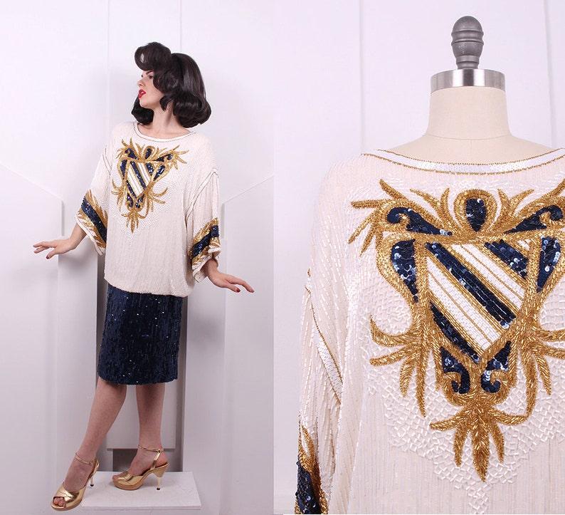 5702f825639f6d Vintage 1980's Bob Mackie Nautical Beaded Dress 80's   Etsy