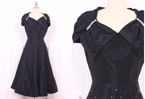 Vintage 1950's Black Taffeta Cocktail Dress • 50's