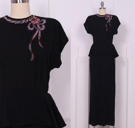 Vintage 1940's DuBarry Black Evening Gown • 40's R