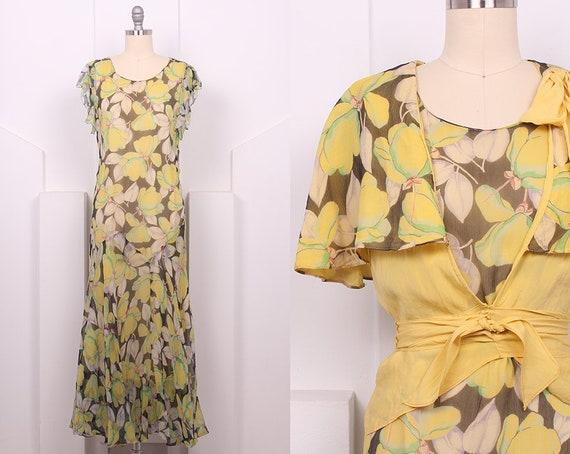 Vintage 1930's Yellow Floral Print Dress Set • 30'