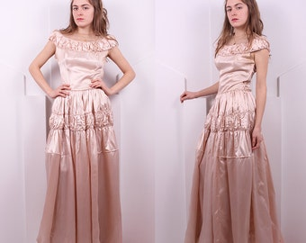 Vintage 1930's Blush Pink Satin Wedding Gown • 30's Pink Wedding Dress • Size S