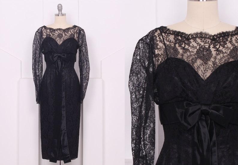 huge discount 94379 03aeb Jahrgang 1960 schwarzer Spitze Langarm Cocktailkleid • 60er Jahre Spitze  Bleistift Kleid • Größe XXS