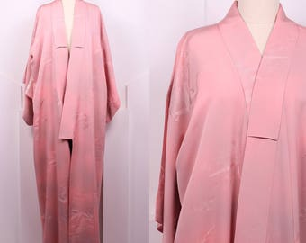 Vintage Japanese Leaf Print Kimono • Dusty Rose and Gray Art Deco Robe