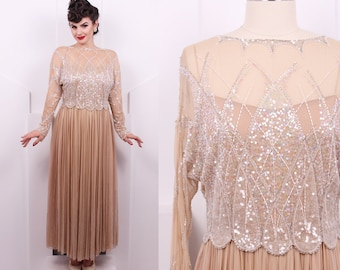 Vintage 1980's Champagne Silk and Sequin Evening Dress • 80's Art Nouveau English Silk 2 Piece Gown • Size L