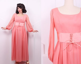 Vintage 1960's Coral Chiffon Lorrie Deb Evening Gown • 60's Long Sleeve Party Dress • Size M