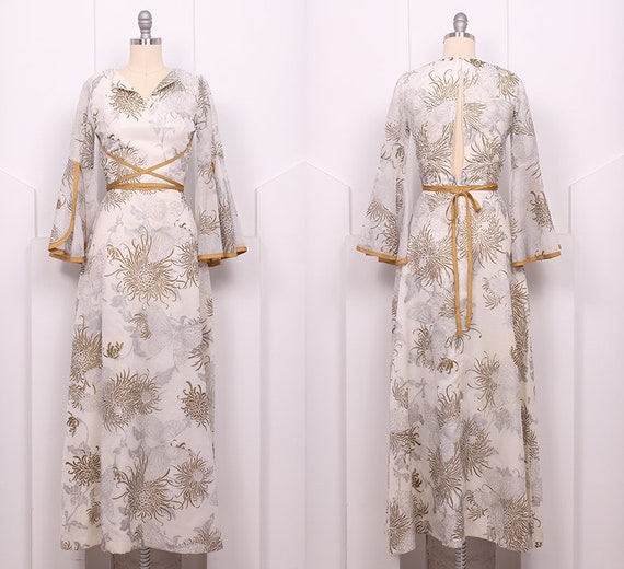 Vintage 1970's Shaheen Butterfly Maxi Dress • 70'… - image 3