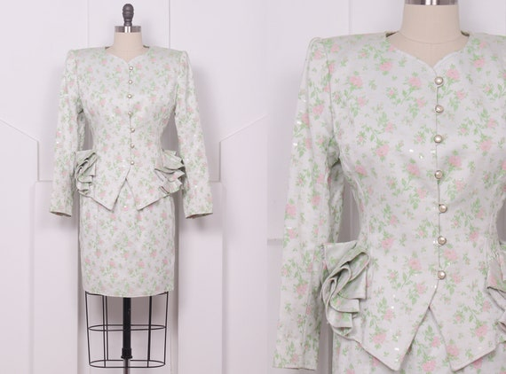 Vintage 1980's Ungaro Parallele Floral and Sequin