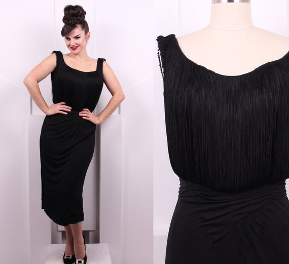 58a0655c5c1 Vintage 1940 s Black Fringe Wiggle Dress 40 s Silk