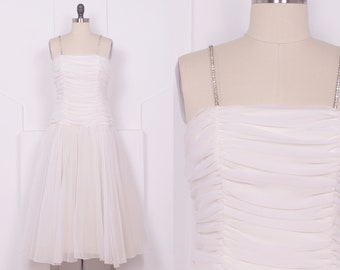 Vintage 1980's White Ruched Prom Dress • 80's Dropped Waist Wedding Dress • Size M