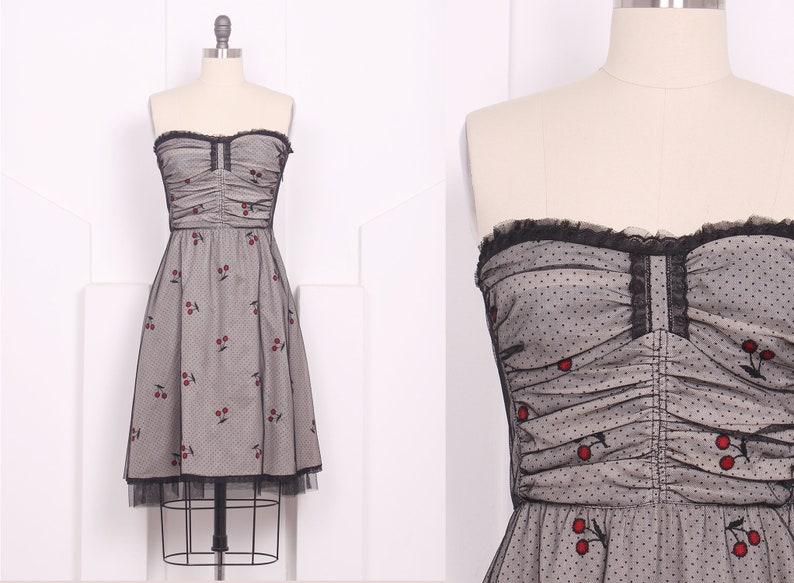 f9dc84e9e6c Vintage Anna Sui Cherry Print Tulle Party Dress Designer