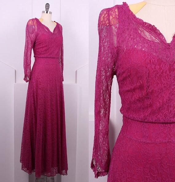 Vintage 1930's Bias Cut Lace Berry Dress • 30s Lon