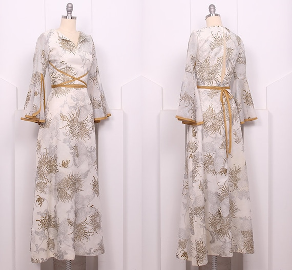 Vintage 1970's Shaheen Butterfly Maxi Dress • 70'… - image 2