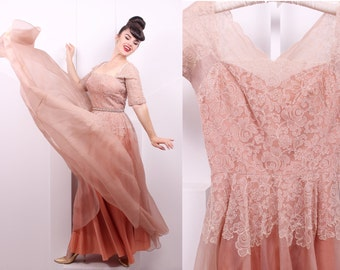 Vintage 1950's Cafe Au Lait Organza and Lace Gown • 50's Floral Lace Prom Dress • Size S