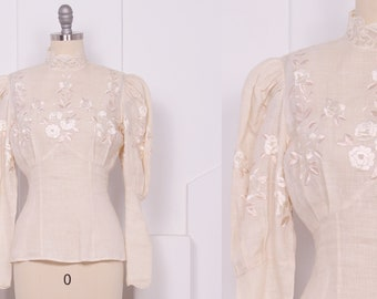 Vintage 1970's Cream Linen Edwardian Style Floral Embroidered Blouse • 70's Ivory Mutton Sleeve Top • S/M