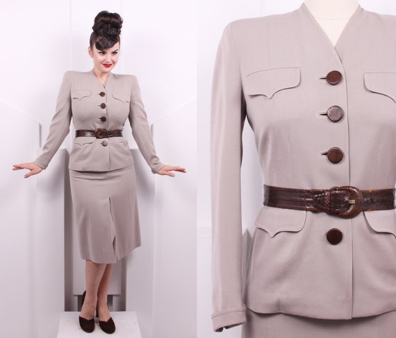 Vintage 1940's Best's Apparel Gabardine Suit Set •