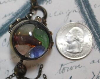Handmade Authentic Sea Glass Brass Pocket Watch Pendant