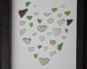 I Heart Seaglass - Framed Sea Glass Hearts