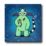 A Gift For You - Painted, Graffiti, Canvas. Cute, Urban, Gift, Present, monster, pop art, bold, creatures, outsider, illustration, Demon