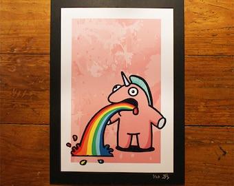 The Sick Unicorn - Pink - A4 Print - Urban Graffiti Art - Cute Ltd Edition, Numbered Character Prints. Pop Graff Rainbow Puke Kidrobot