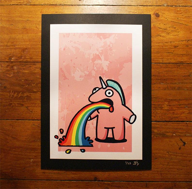 The Sick Unicorn  Pink  A4 Print  Urban Graffiti Art  Cute image 0