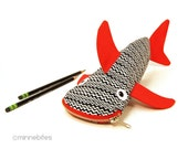 Back to School Pencil Case, Shark Zipper Pouch, Kids Storage Bag. Funny Gift for Boys. Red & Black. Ziggy.