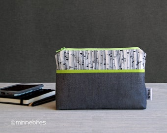 Wristlet Clutch Wallet, Small Gray Purse, Organizer, Birch Trees Forest Spring Green.