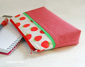 Strawberry Wristlet - Organizer Pouch for Her - Small Purse - Travel Makeup Bag - Red Berry Wristlet Wallet - Gardener Gift - Ready to Ship