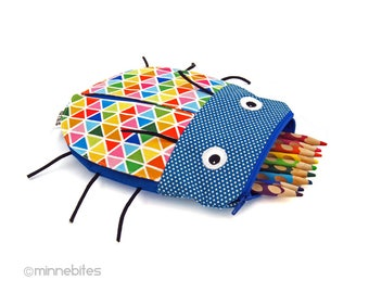 Rainbow Beetle Pencil Pouch - Blue Toy Bag - Overnight Kit - Pencil Case - Insect Bug Bag - Kids Zipper Pouch - School Bag - Ready to Ship