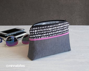Wristlet Pouch - Preteen Gift - Small Gray Purse - Travel Makeup Case - Gift for Designer - Tiny House Purse - Cosmetic Case - Ready to Ship