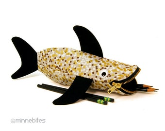 Shark Pencil Case - School Art Supplies - Planner Pouch - Kids School Bag - Gold Shark - Silly Office Gift - Desk Accessory - Ready to Ship