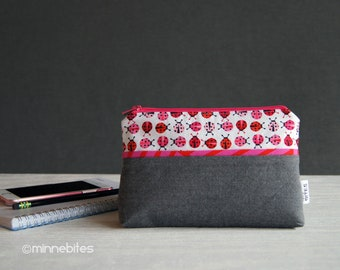 Ladybug Wristlet Wallet - Small Handmade Purse - Travel Makeup Case - Cute Valentines Gift for Girls - Cute Organizer - Ready to Ship