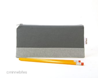 Men's Gray Pencil Case - Two Tone Grey Pouch - Receipt Holder - Planner Pouch - Coupon Organzier - Mens Modern Pencil Bag - Ready to Ship