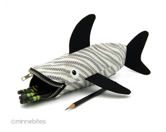 Shark Pencil Case - Storage Organization - Zipper Bag - Black and White Pencil Pouch - Office Desk Accessory - Gift for Guys - Ready to Ship
