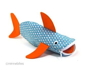LAST ONE Shark Bag by MinneBites / Toddler Art Storage - Orange Pencil Case - Fish Toy Bag - Rainy Day Kids Art Supplies - Ready to Ship
