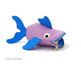 Guppy Fish Pouch, Lavender & Blue. Small Purse for Kids. Cute Gift for Toddler.