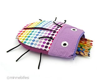 Rainbow Beetle Pouch - Sleepover Bag Overnight Kit - Dot Pencil Case - Quality Kids Gift - Toddler Zipper Pouch - School Bag - Ready to Ship